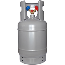 Refillable refrigerant cylinders